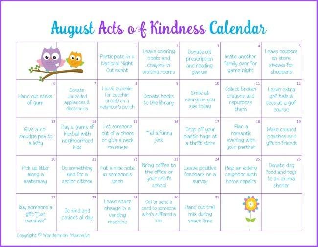 August Kindness Calendar