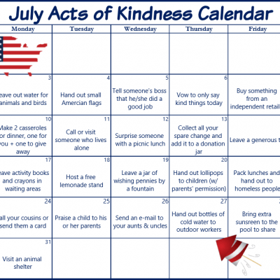 July Acts of Kindness Calendar