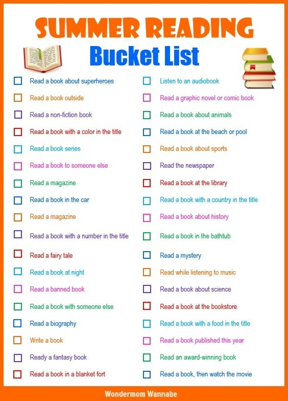 Summer Reading Bucket List Find A Free Printable