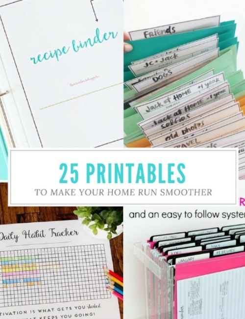 25 free printables for organizing the home