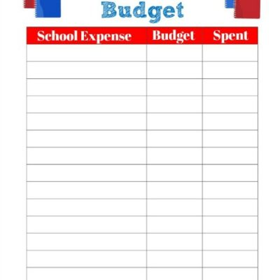 School Expenses Budget Worksheet