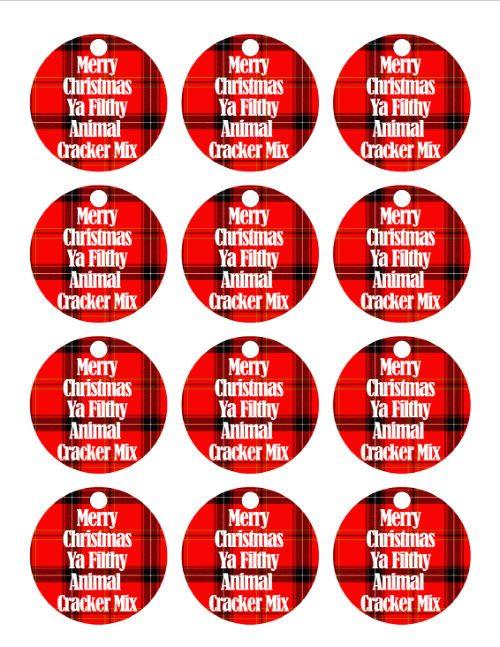 Merry Christmas Ya Filthy Animal Cracker Mix Tag