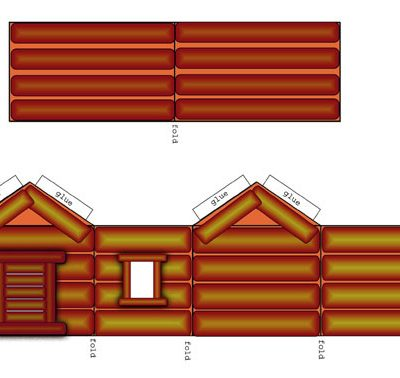 printable wee log cabin