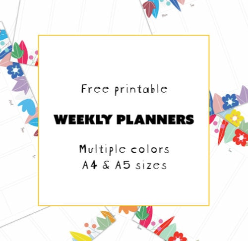 Weekly Planners in multiple sizes