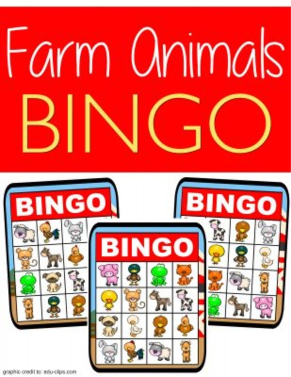 printable farm bingo