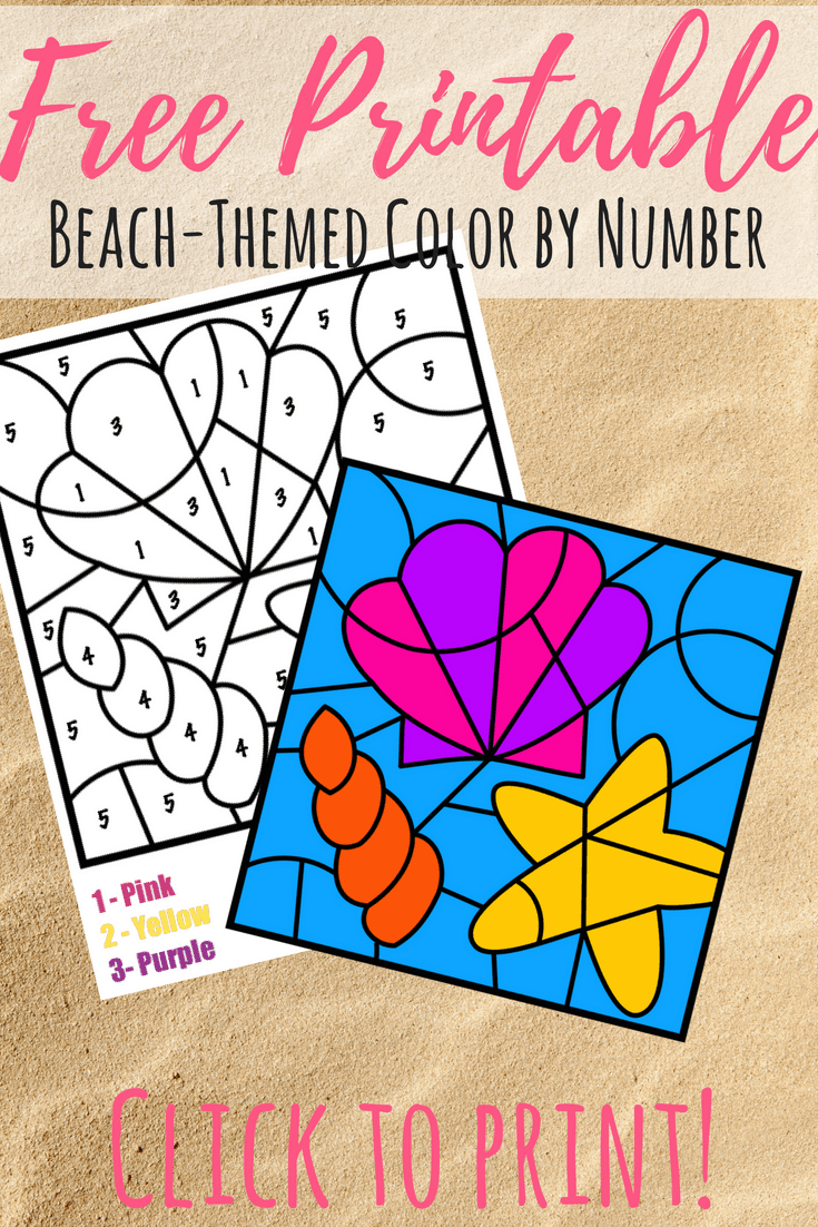 Color By Number Beach Printable
