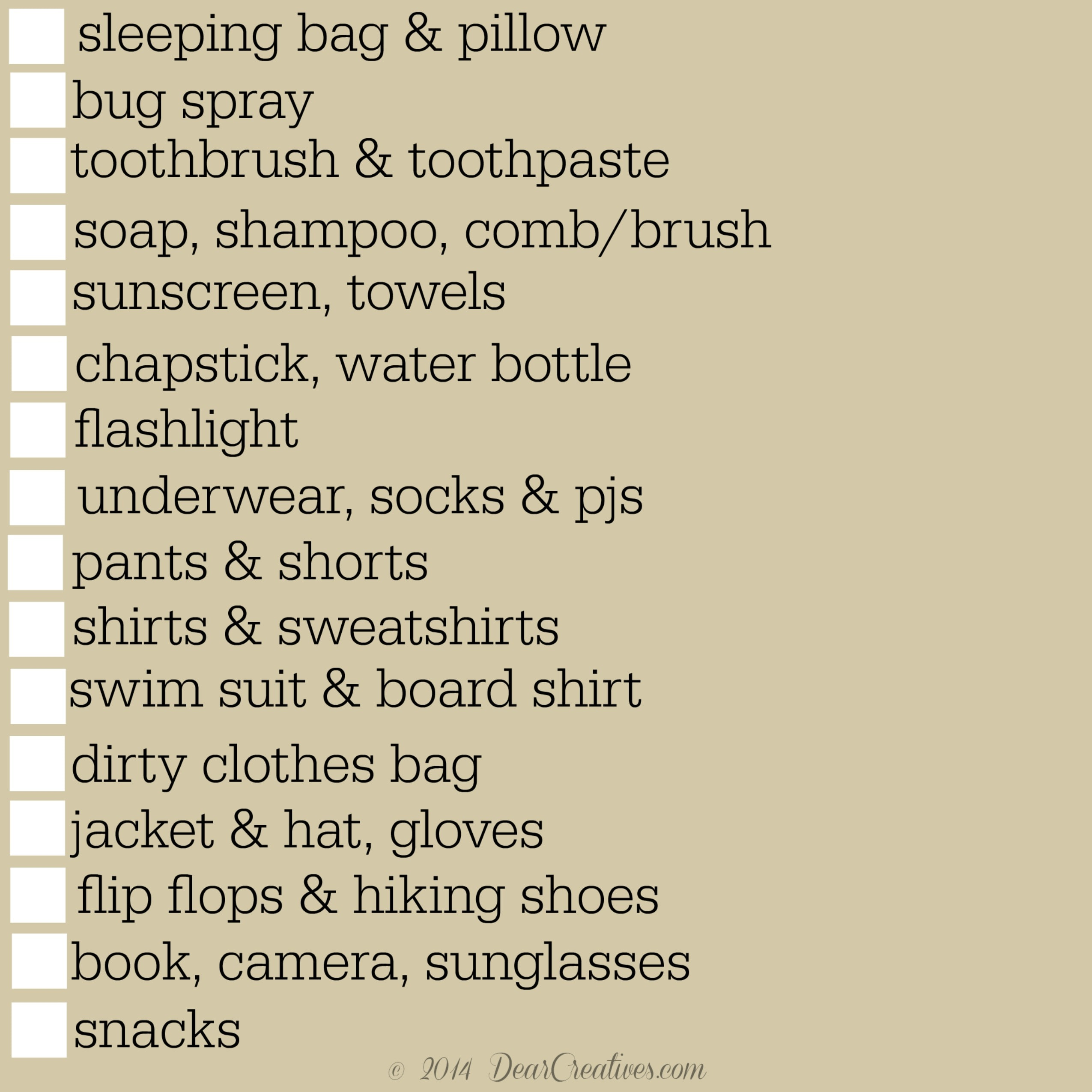Camping Checklists To Make Packing Easy