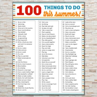 printable 100 things to do this summer