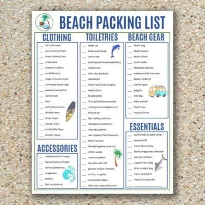 free printable beach packing list