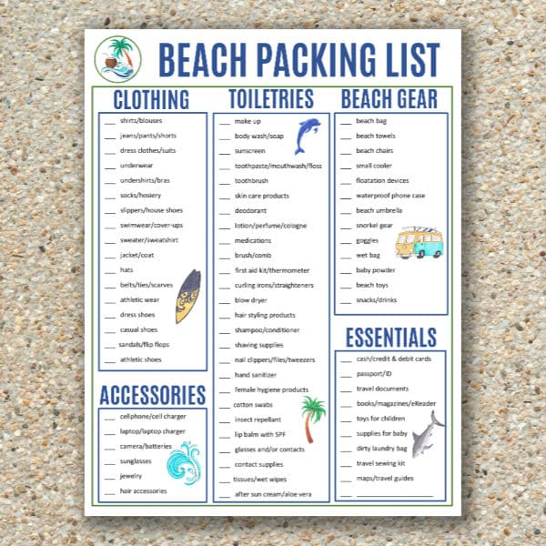 free printable beach packing list