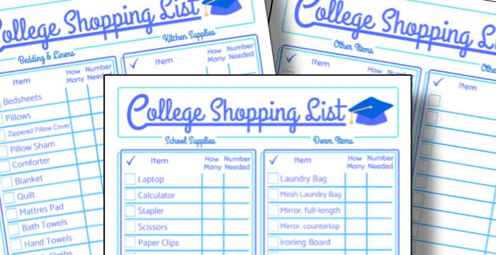 printable back to college shopping list