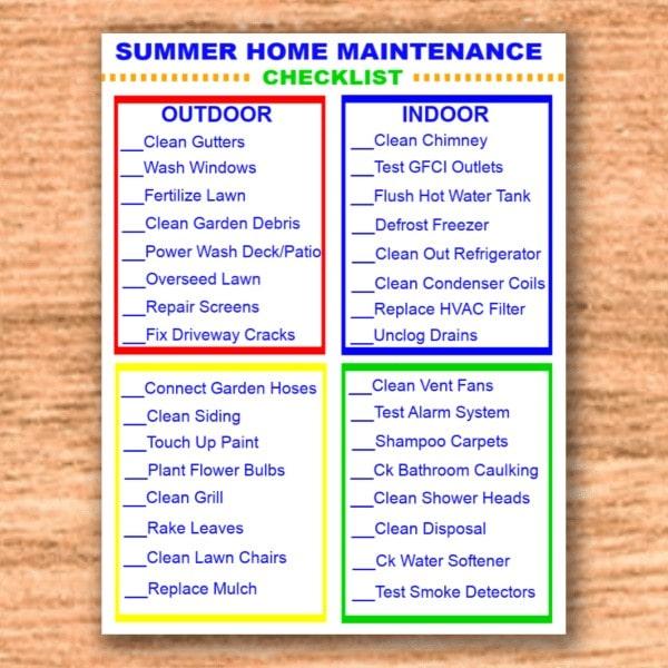 printable summer home maintenance checklist