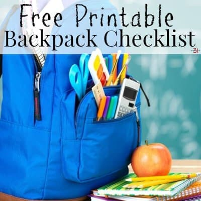 printable school backpack checklist