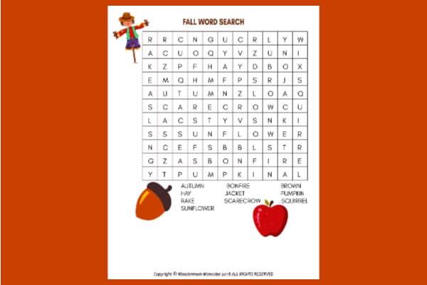 printable fall word search