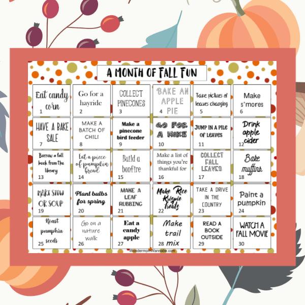 printable calendar of fall activities