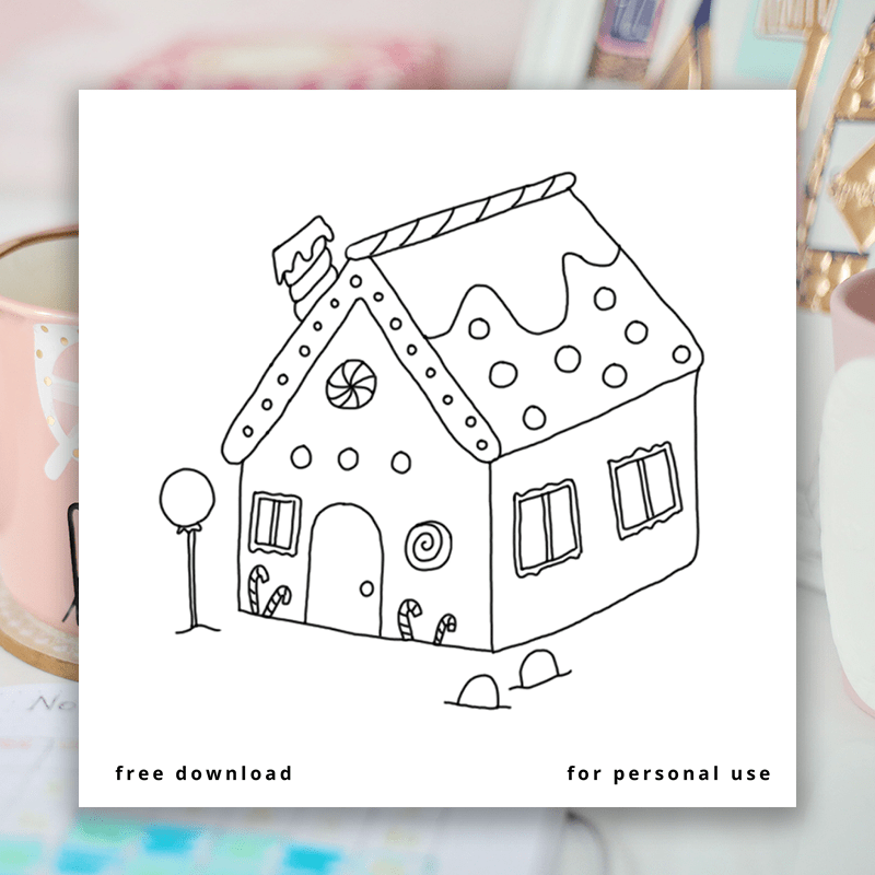 free printable Gingerbread house coloring page