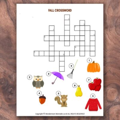 free printable fall crossword puzzle for kids
