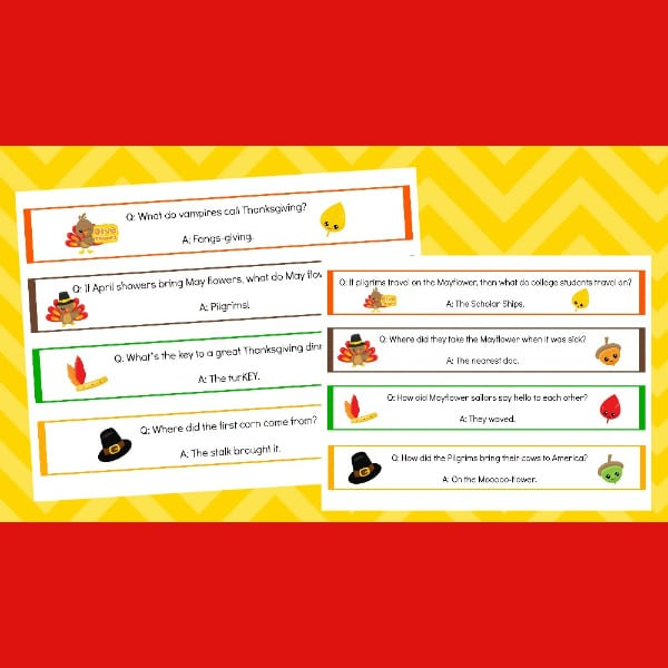 printable Thanksgiving jokes napkin rings