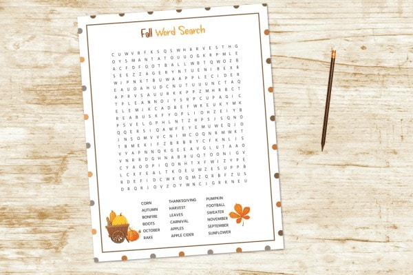 printable fall word search