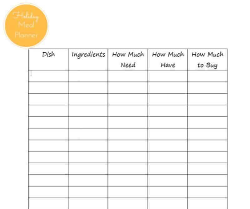 printable holiday meal planner