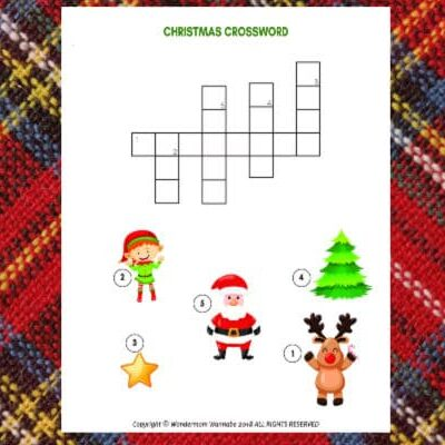 printable Christmas crossword puzzle for kids