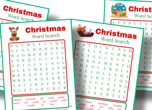 free printable Christmas word search set