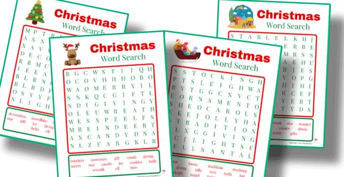 free printable Christmas word search set