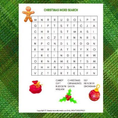 printable Christmas word search for kids