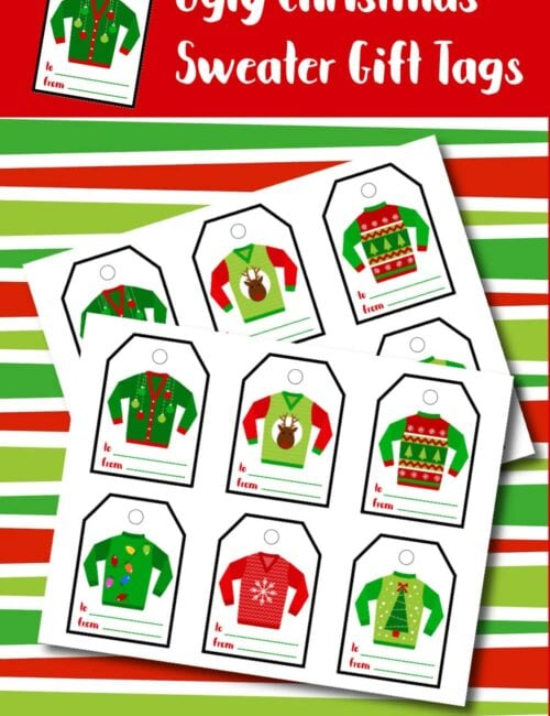 printable ugly sweater gift tags
