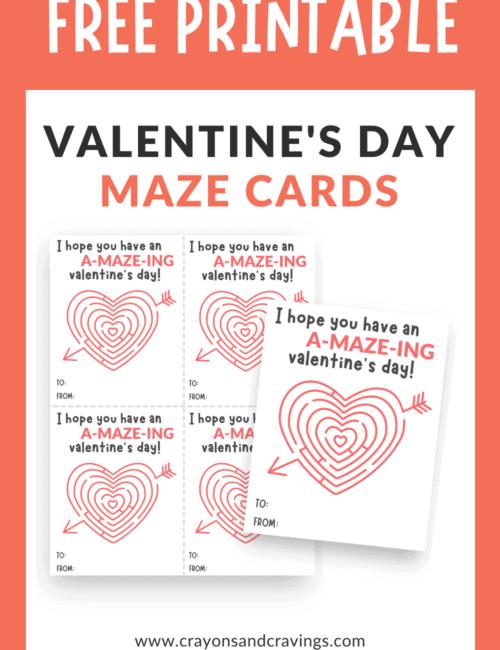 printable Valentine's Day maze cards