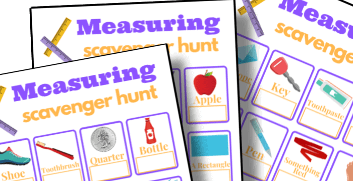 printable measuring scavenger hunt