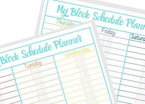 printable block schedule template