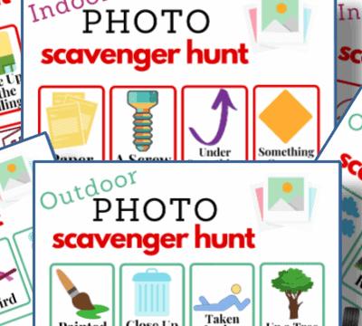 photo scavenger hunt game boards