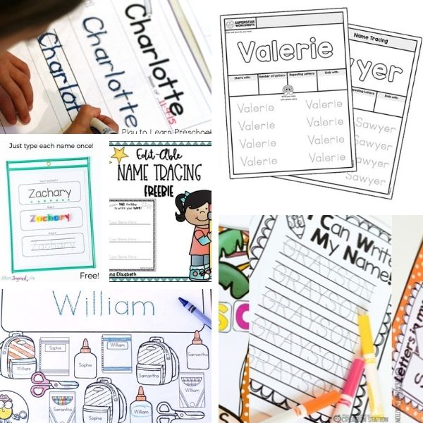 over 15 free name tracing worksheets