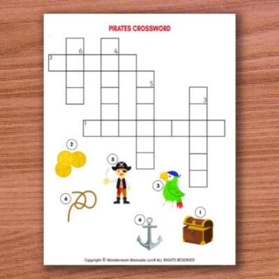 printable pirates crossword puzzle