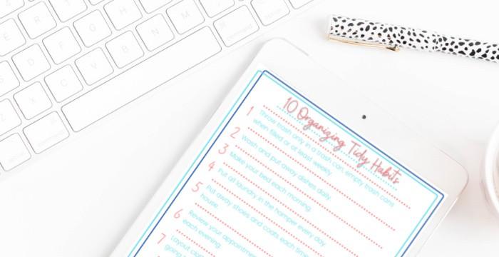 foundational organizing habits printable list