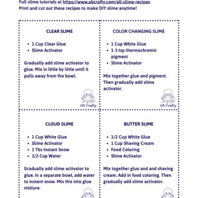 printable slime recipe cards