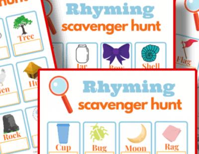 printable rhyming scavenger hunt
