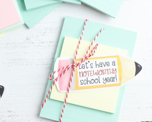 printable gift tag for a teacher notebook gift