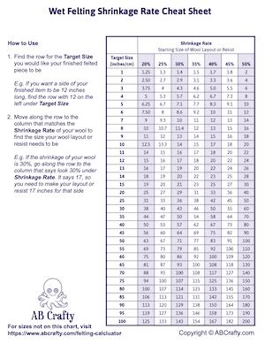 wet felting shrinkage rate cheat sheet