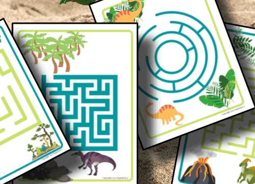 dinosaur printable mazes